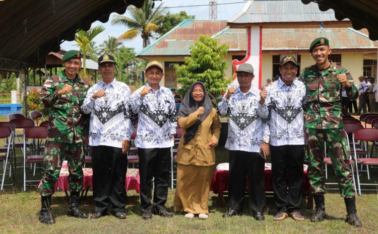 Satgas Yonif MR 411 Kostrad Hadiri Upacara Peringatan HUT Ke-74 PGRI Dan Hari Guru Nasional di Perbatasan