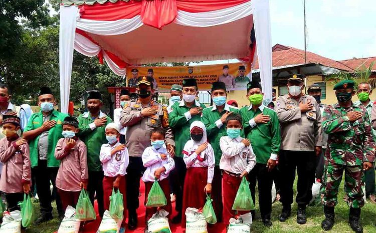Kolaborasi Bakti Sosial Polri, TNI Dan NU Bersama KSJ Santuni Anak Yatim dan Duafa Di Batu Bara.